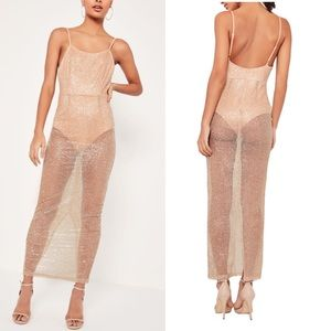 Missguided 12 Glitter Sheer Maxi Dress bodysuit